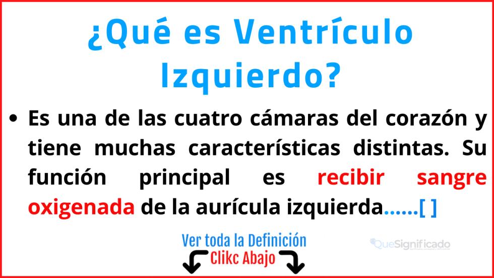 Qué es Ventrículo Izquierdo