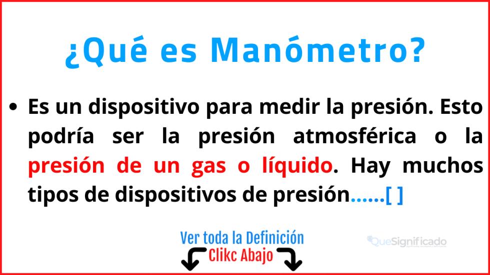 Qué es Manómetro