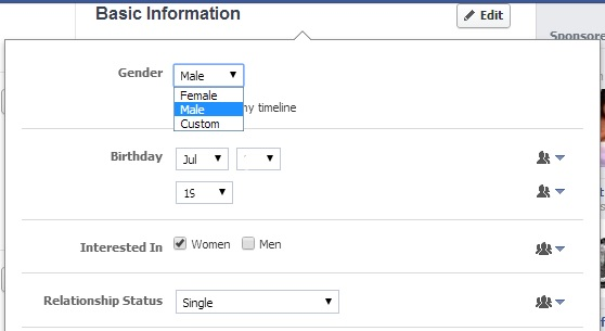 Facebook's updated basic information settings now allow users to select a custom gender identity.
