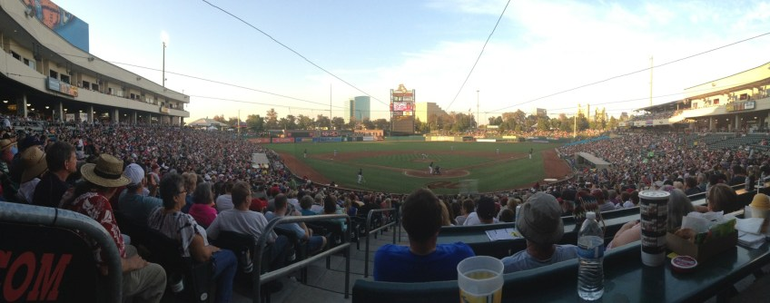 A large crowd watches the Sacramento River Cats take on the Las Vegas 51s in minor league baseball on Saturday, Aug. 2, 2014, in West Sacramento, Calif.