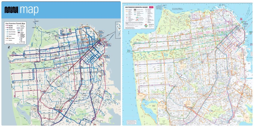 A side-by-side look of the the old and new Muni maps.