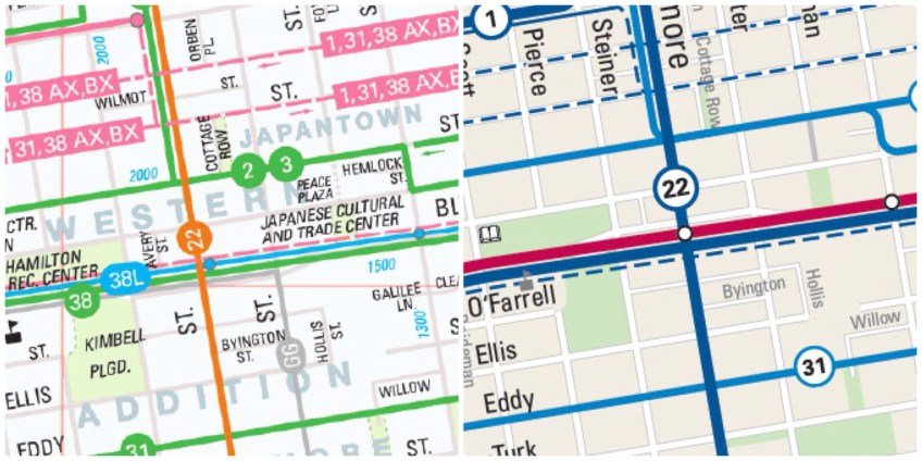 A side-by-side comparison of how Japantown is depicted in the old and new Muni maps.