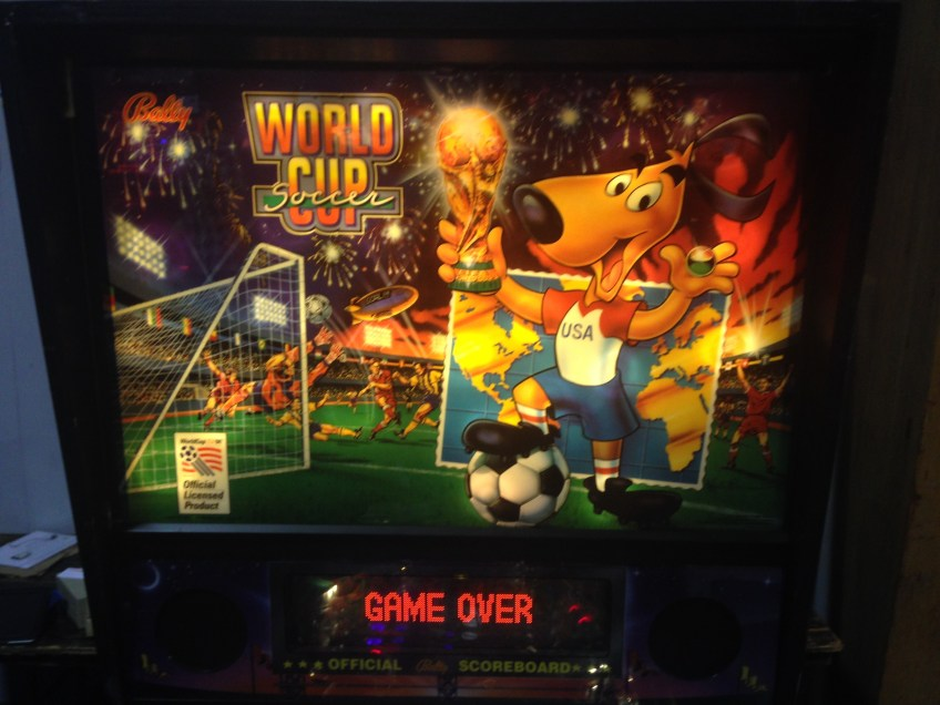 Backglass art for the 1994 World Cup Soccer pinball game