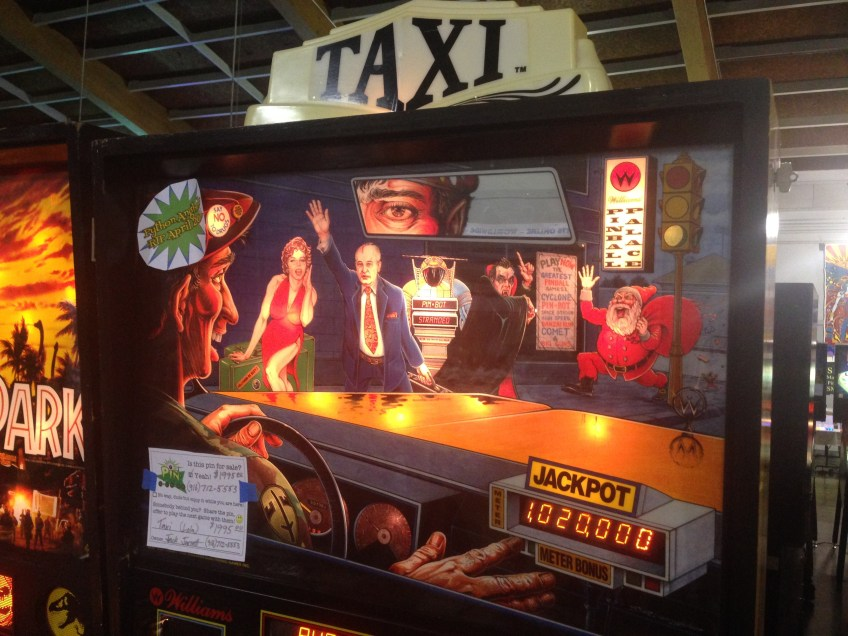 Backglass art for a Taxi pinball game