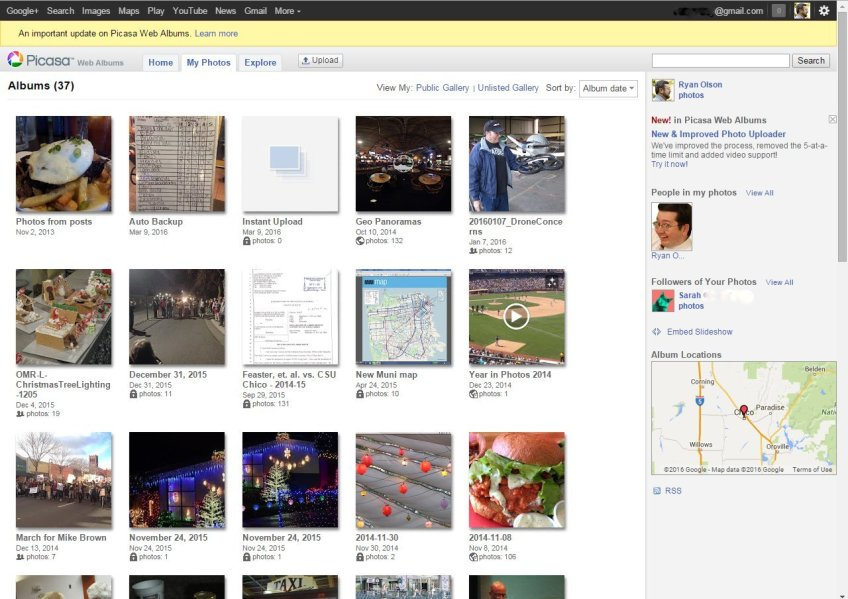 Here's a look at the Picasa Web Albums service as viewed in Google Chrome on March 10, 2016.