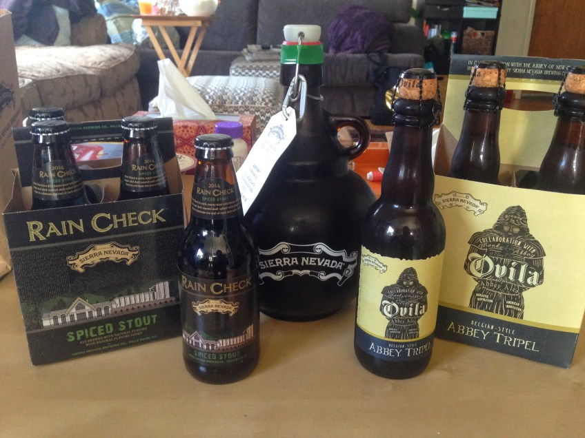 A selection of beers from Sierra Nevada Brewing Co. provided for a family Thanksgiving dinner in 2014. Selections included Spiced Stout ale from Sierra Nevada's Mills River, North Carolina brewery, Audition pumpkin ale from the Chico brewery and Abbey Tripel brewed in collaboration with Ovila.