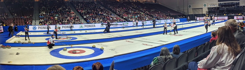 A composite photo showing competition during the 2019 Continental Cup of Curling in Las Vegas.