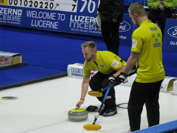 Swedish skip Niklas Edin prepares to deliver a curling stone during a game at the 2018 World Men's Curling Championship in Las Vegas on Monday, April 2, 2018.