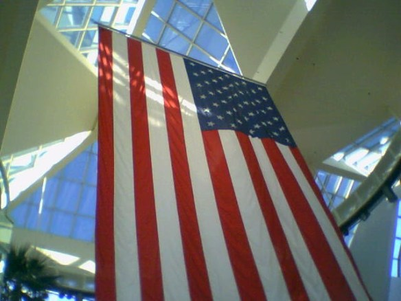 An American flag is on display at Arden Fair Mall in Sacramento, California, on Feb. 9, 2009.