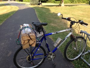Firewood and Beverage on Bicycle