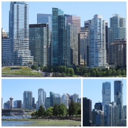 Vancouver's skyline. Probably my only beef with Vancouver is that most of it's buildings look the same. Toronto is slowly becoming one too. Bluish and greenish condo boxes abound.