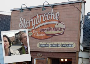 Storybrooke bakeshop. I wonder if the owners pay ABC so they can use the name. Inset picture shows the bakeshop behind Archie and Regina.
