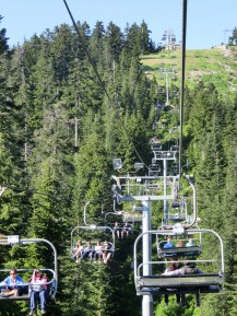 From the gondola, another ski lift ride to the top