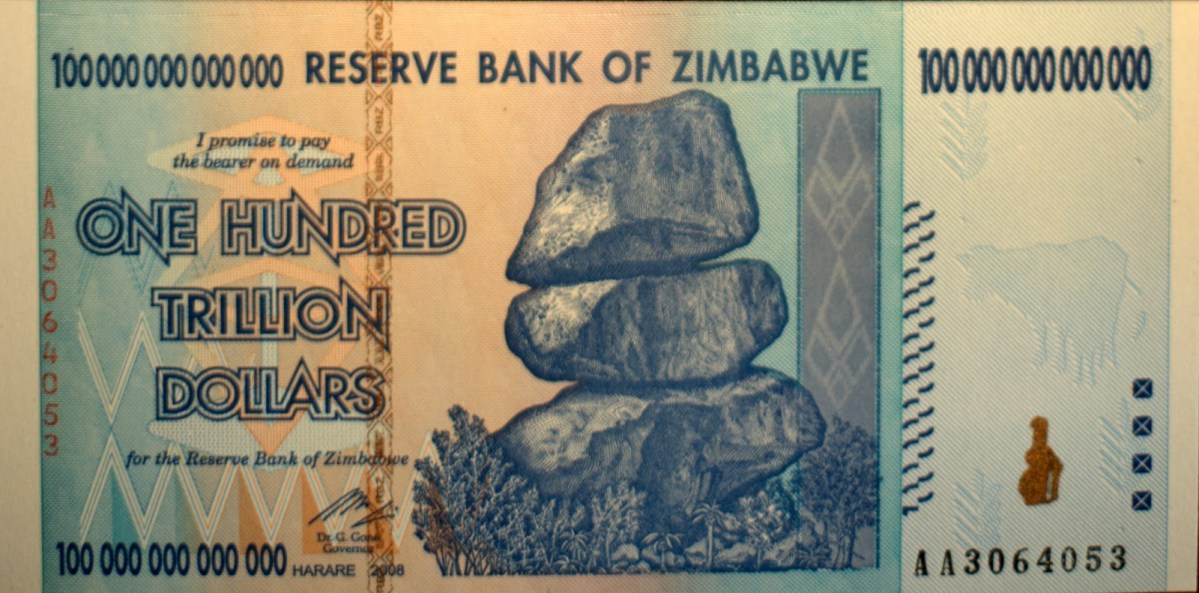 One Hundred Trillion Zimbabwe dollars