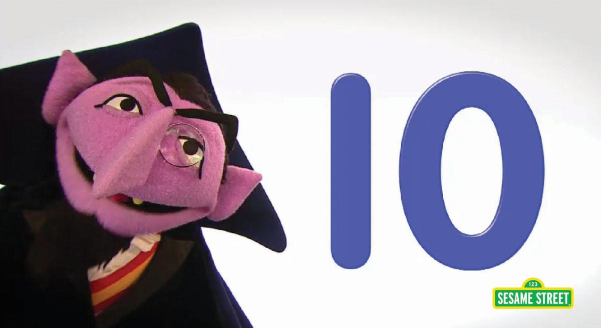 The Count introducing Sesame Street number of the day 10