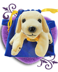 plush stuffed toy yellow lab puppy used as purchase incentive