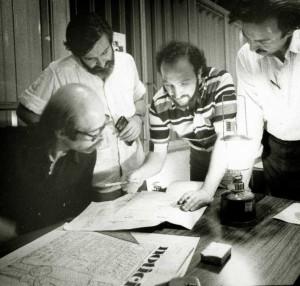 """Creando """"Noticias"""", en 1973, con Oscar Smoje, Aram Aharonian y Paco Urondo"""