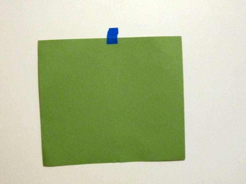 Paint swatch on white wall. Why did you wander into the room? What's your purpose?