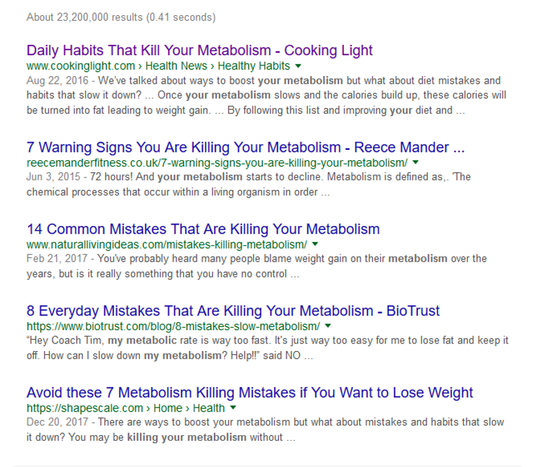 Search Results for Metabolism 'Killers'
