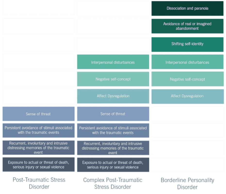 A table showing the symptoms of Complex Post Traumatic Stress Disorder (CPTSD) Post Traumatic Stress Disorder PTSD and Borderline Personality Disorder