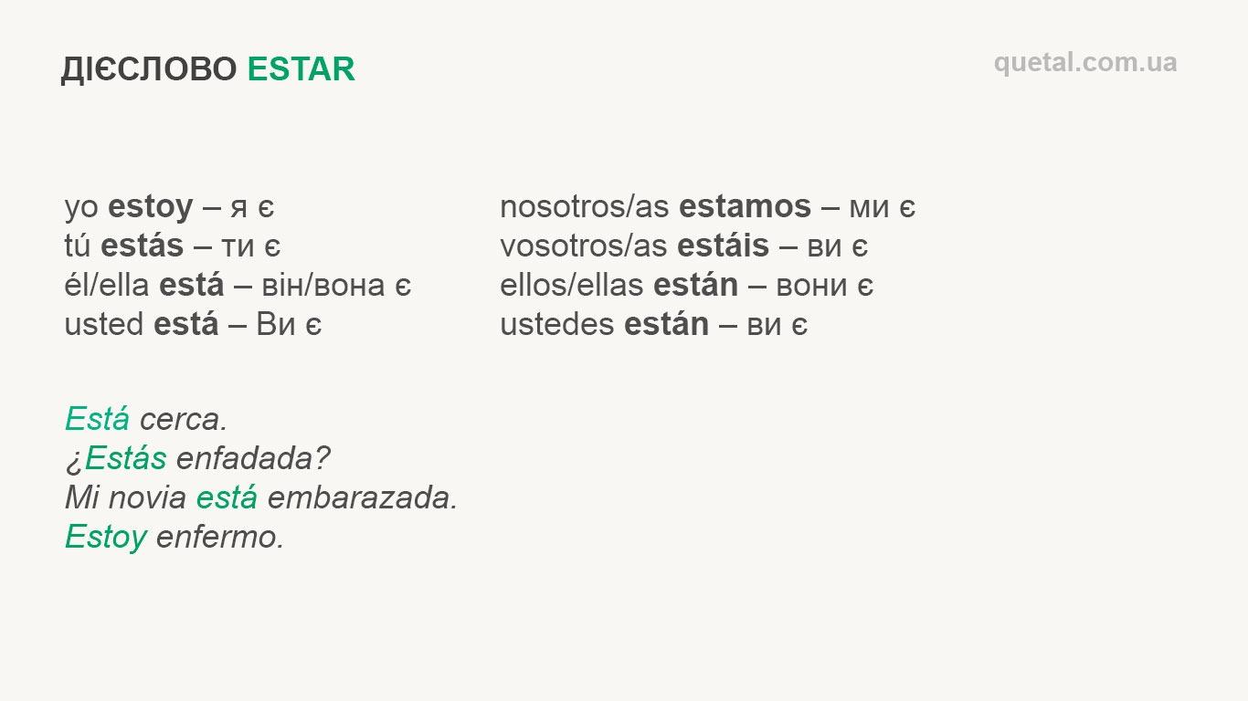 Відмінювання дієслова estar в іспанській мові