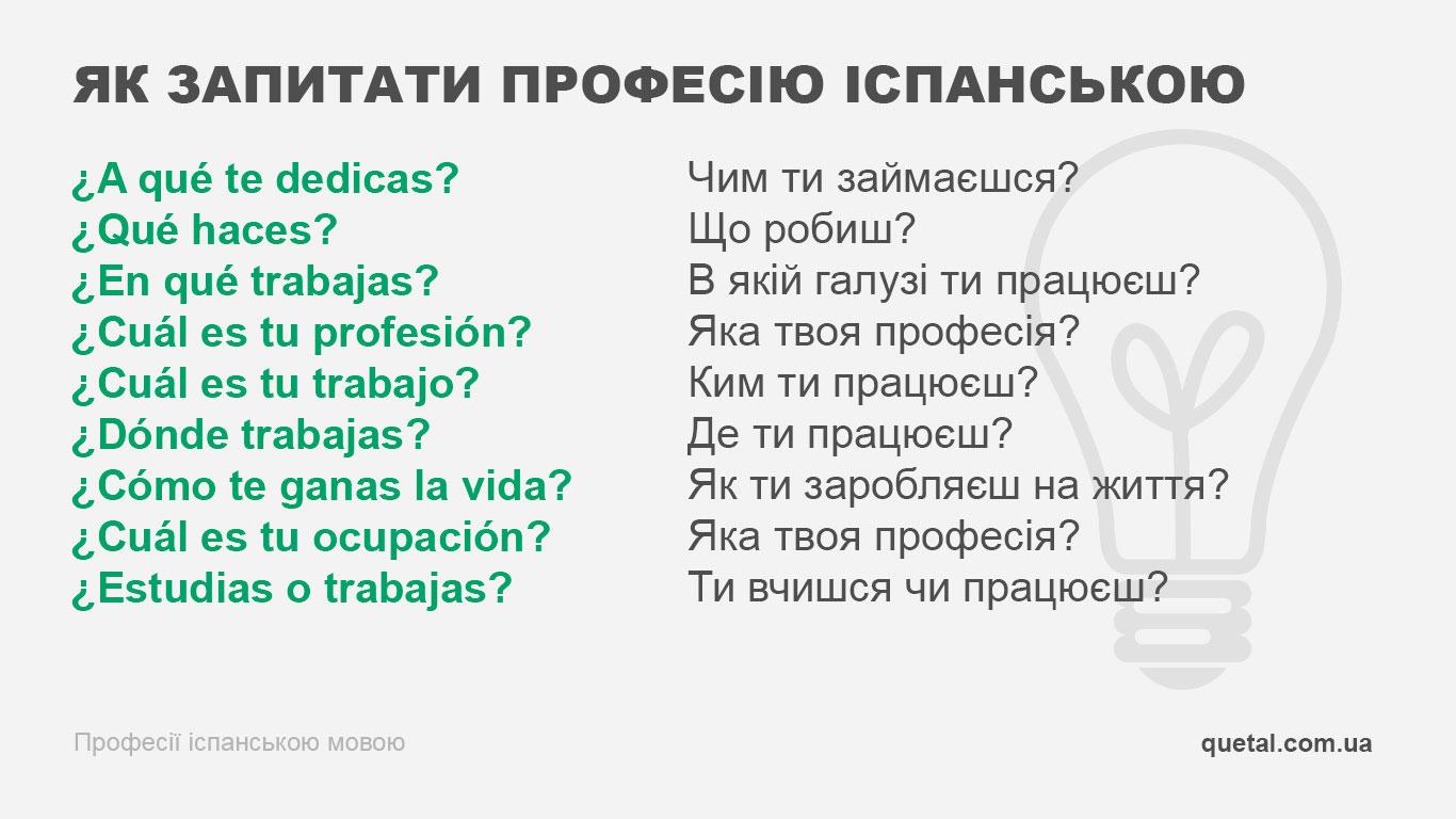 Як запитати професію іспанською