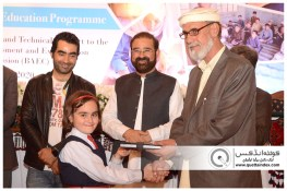 QUETTA-PAKISTAN, March 26, 2019: Director Schools Balochistan Mr. Muneeb Khan giving diary to a school student during closing ceremony of Capacity Development and Technical Support to Balochistan Assessment and Examination Commission. Organized by Agha Khan University Examination Board in collaboration with Government of Balochistan, UNICEF and European Union