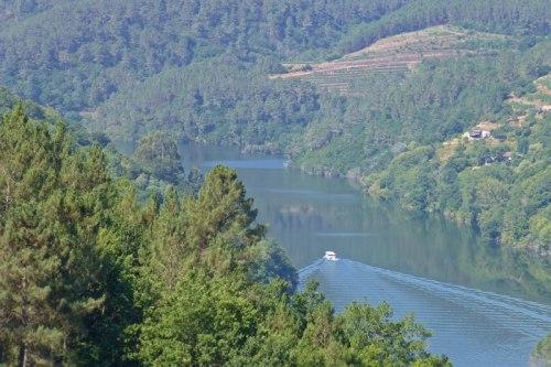 Catamarán navegando el río Miño, transporte por la Ribeira Sacra