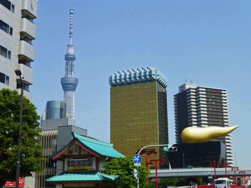 Tokyo Skytree y edificio Asahi en Asakusa