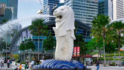 Estatua de Merlion, un símbolo de Singapur