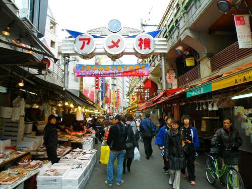 Mercado de Ameyoko cerca del Parque Ueno