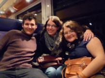 Friends from Slovakia on the train. An hour-long train ride of laughs.