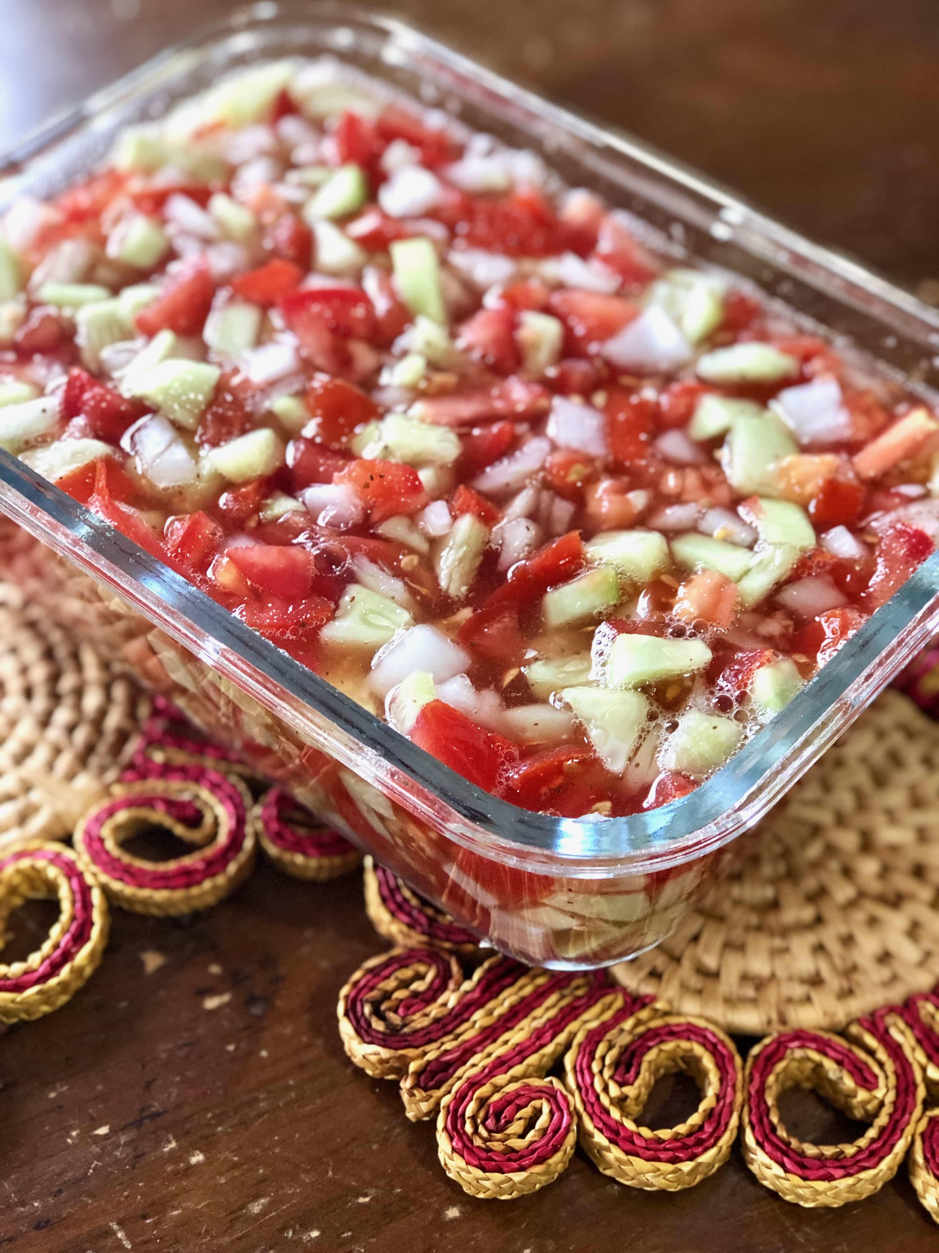 tomatoes, cucumbers and onions make granny mac's goulash