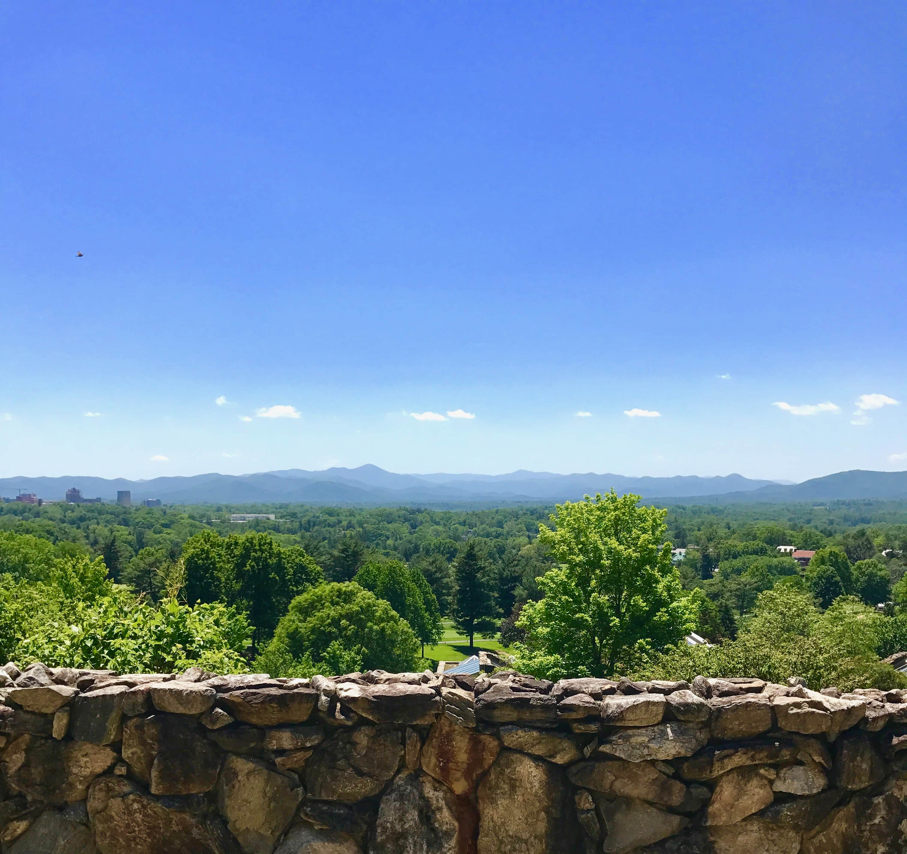 view from Grove Park Inn in Asheville, NC