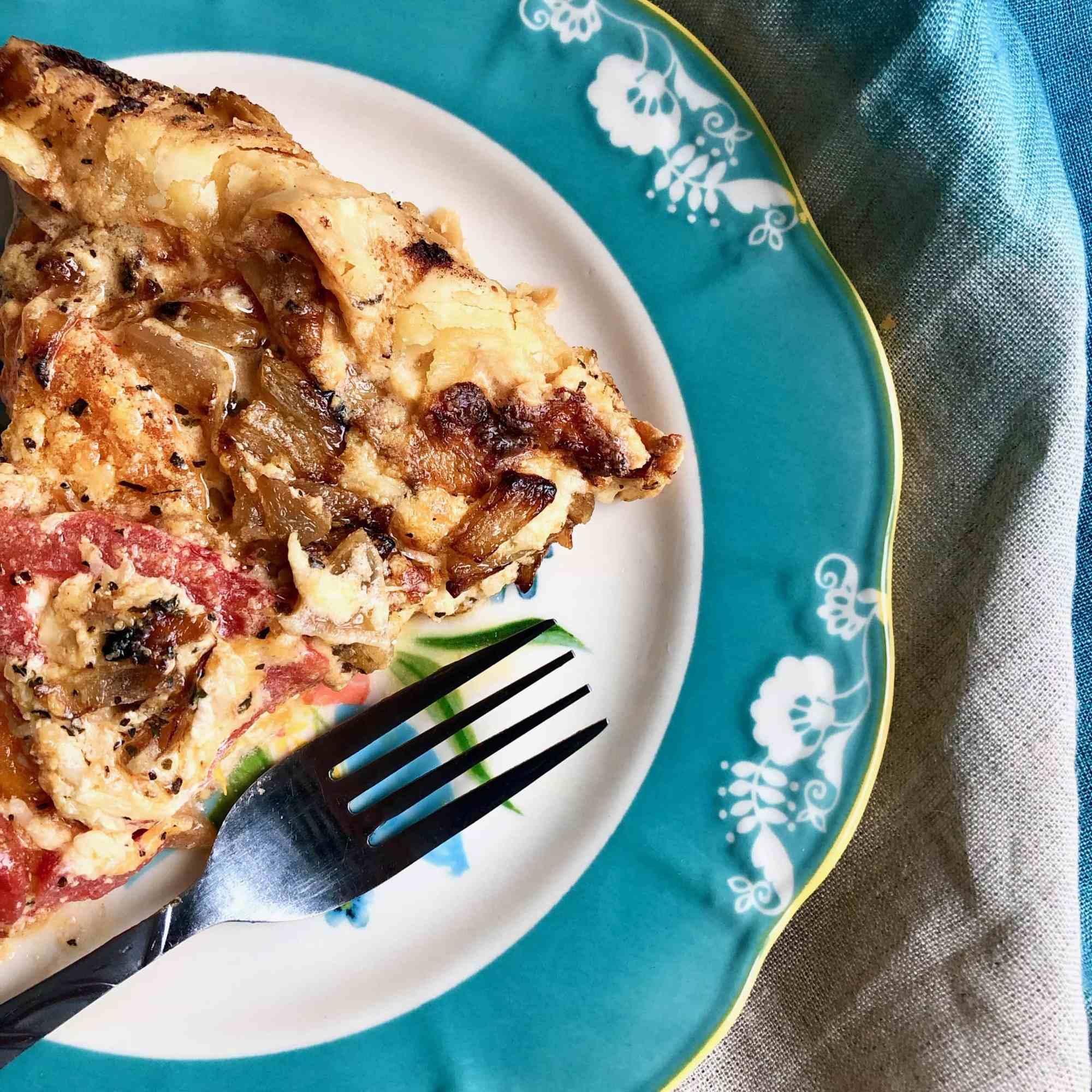 tomato pie in a skillet