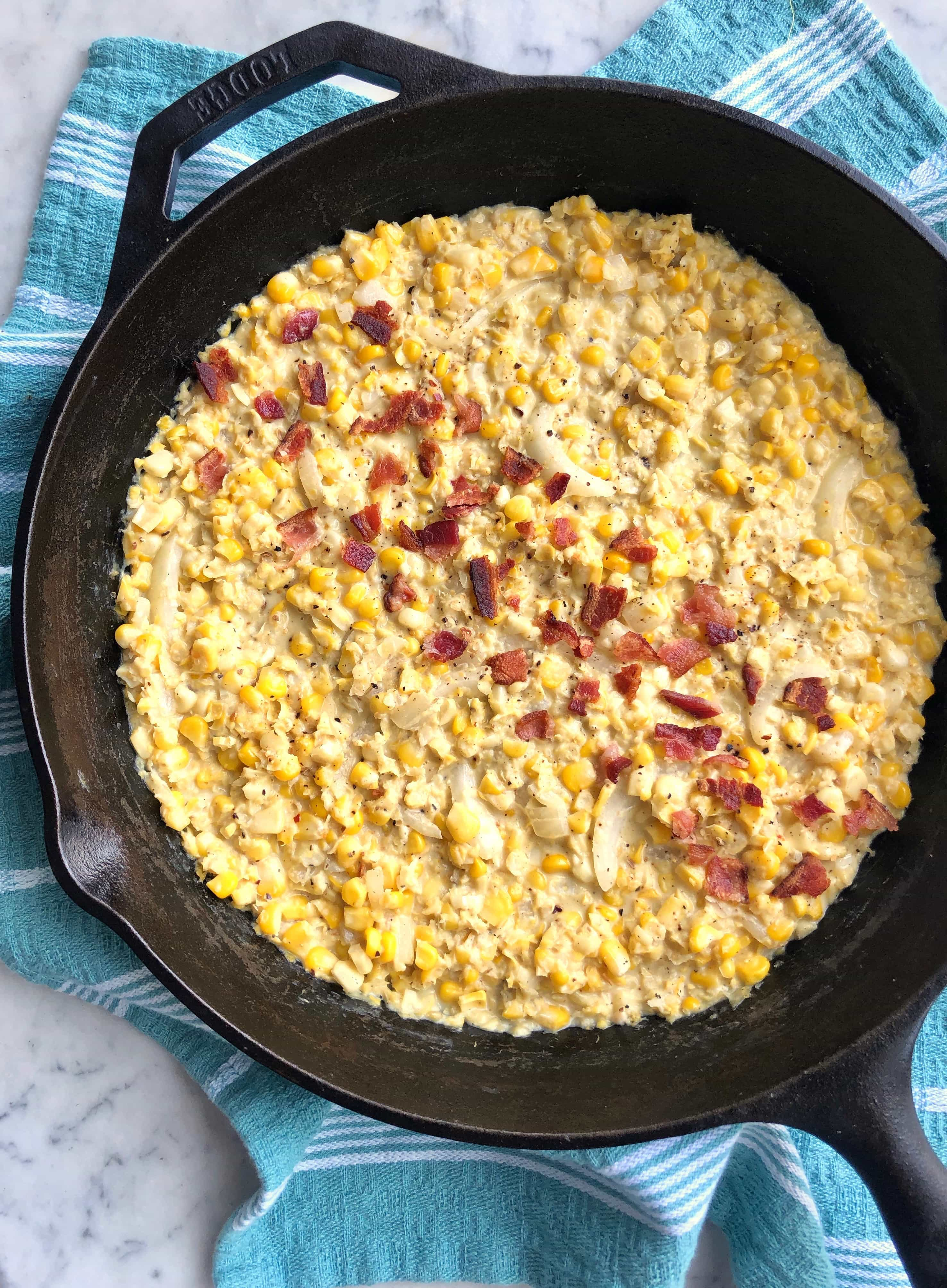 creamed corn in a skillet