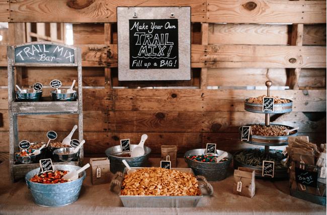 trail mix bar in barn
