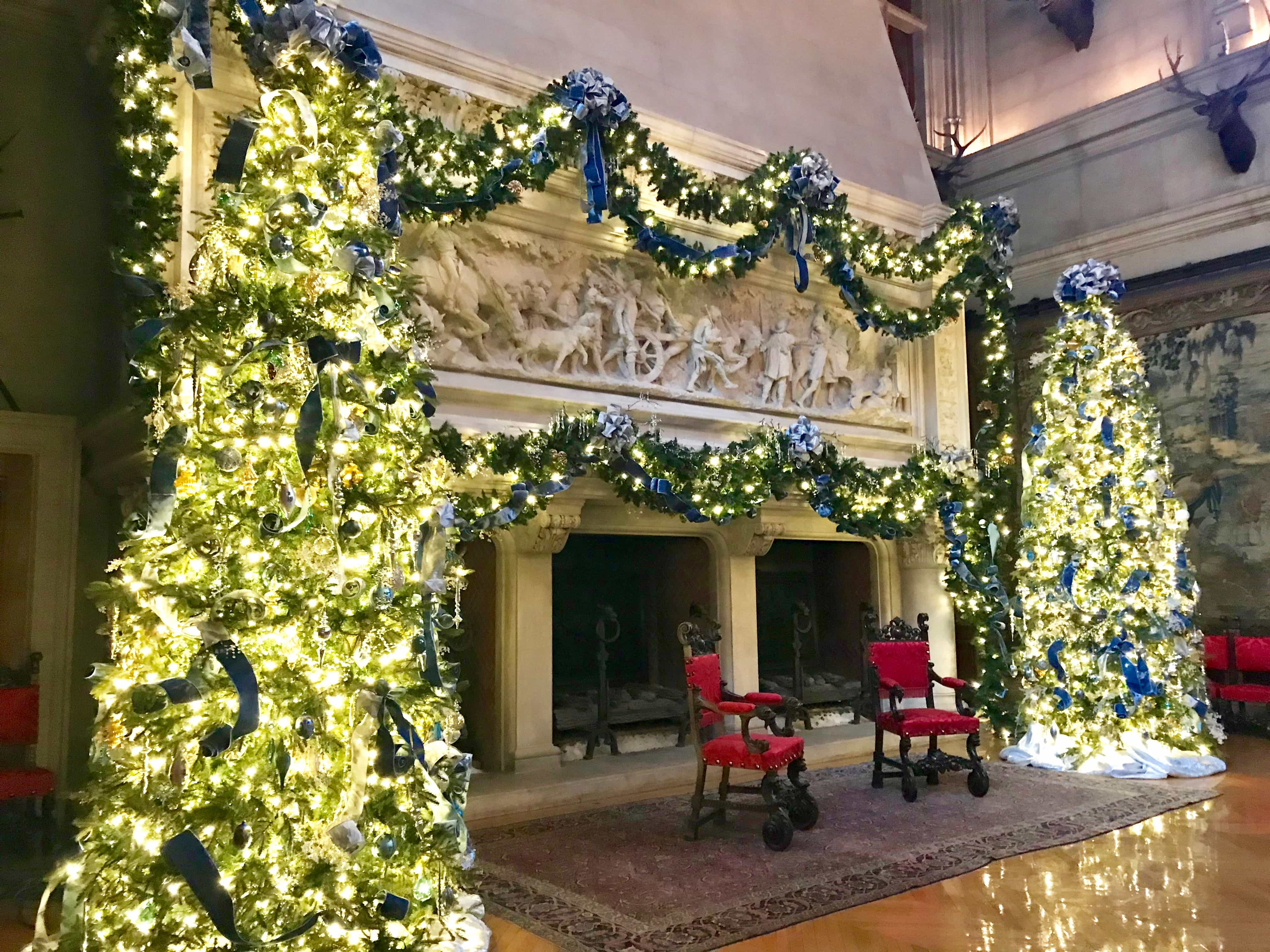 fireplace in dining room decorated for Christmas at the Biltmore House