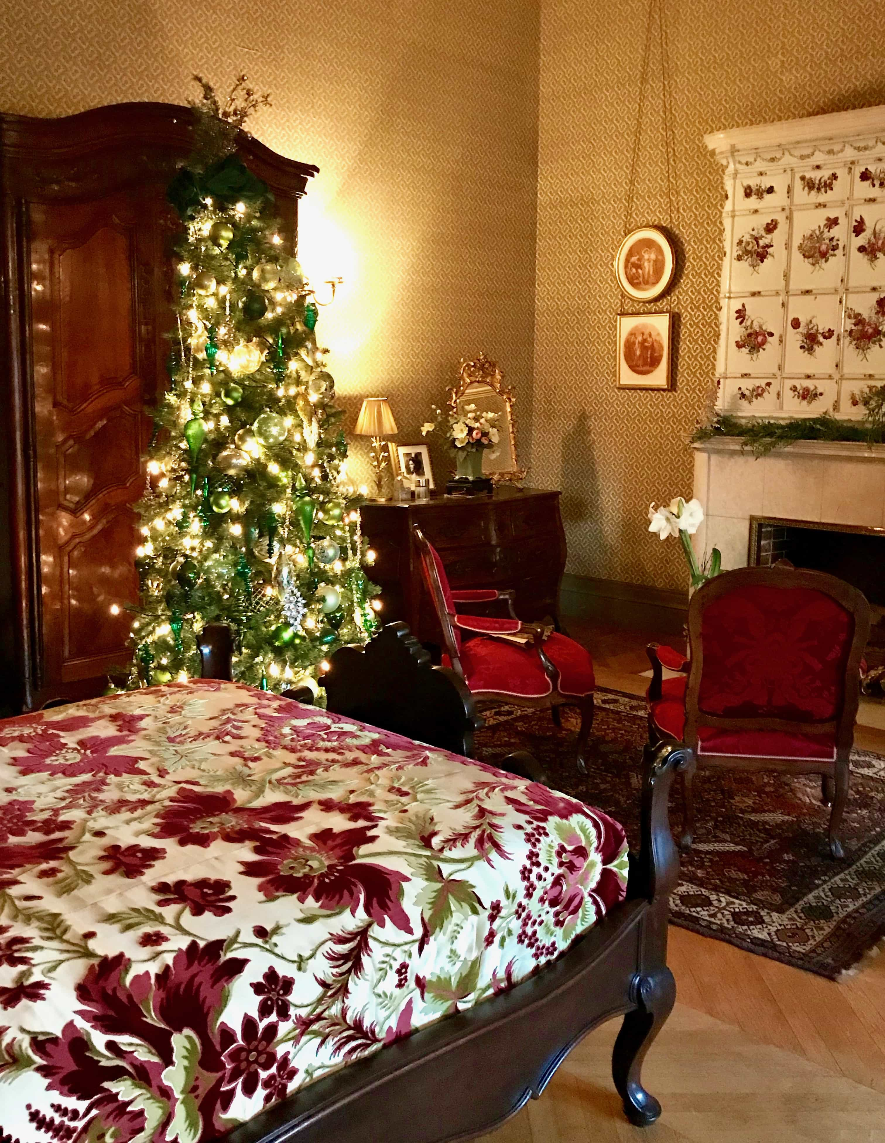 Christmas tree in bedroom at Biltmore House
