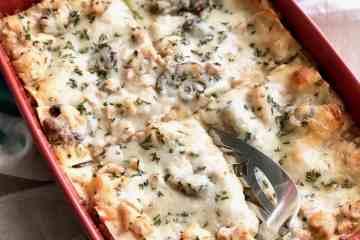Portobello Chicken Lasagna in casserole dish