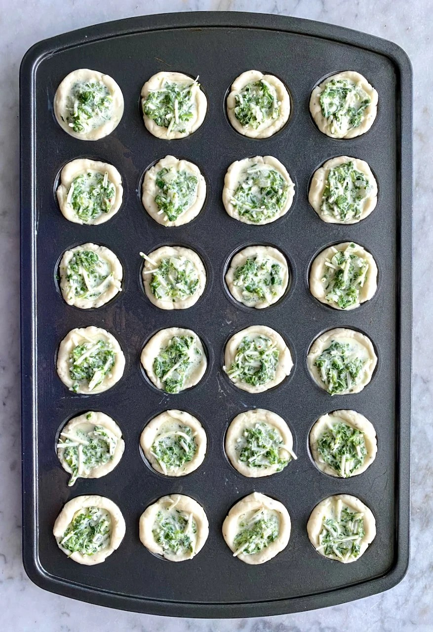 spinach tarts in muffin pan