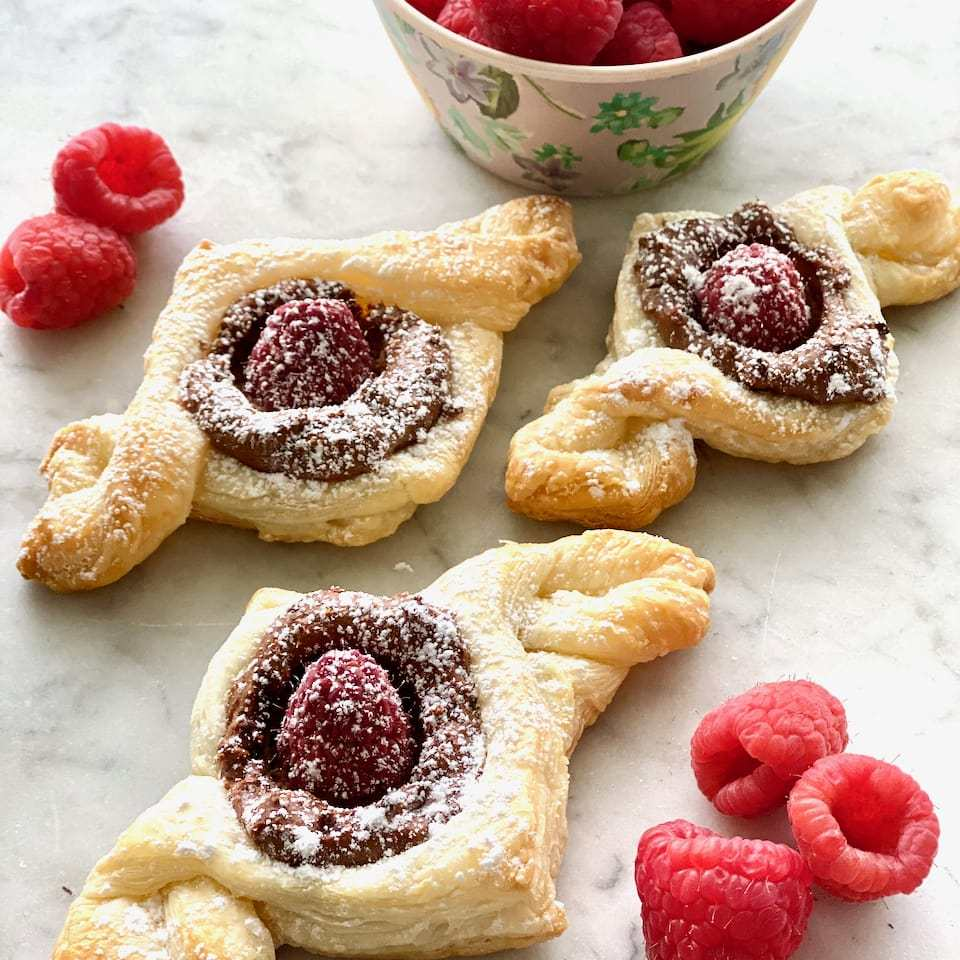 Raspberry Mocha Twists with raspberry, puff pastry and mocha cream.