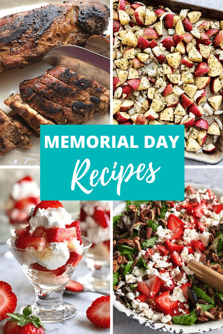 collage of four recipes including pork, potatoes, strawberry shortcakes and salad