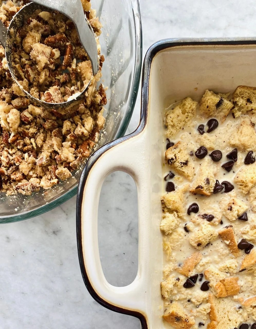 casserole dish with chocolate bread pudding and pecan topping in a separate dish