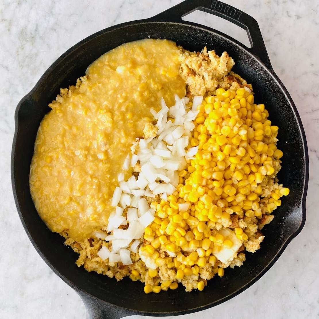 cream corn, onion and whole corn added to stuffing mix.