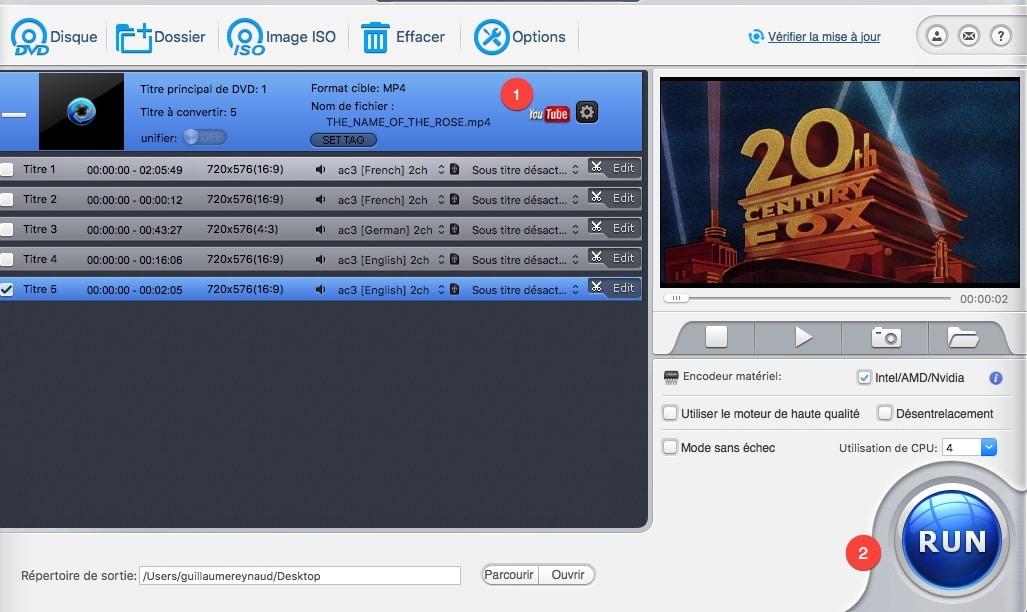 Sélectionner le profil de sortie qui correspond au réseau social dans Macx DVD Ripper Pro