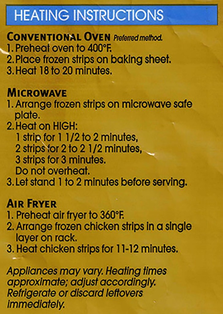 Tyson Crispy Chicken Strips cooking instructions