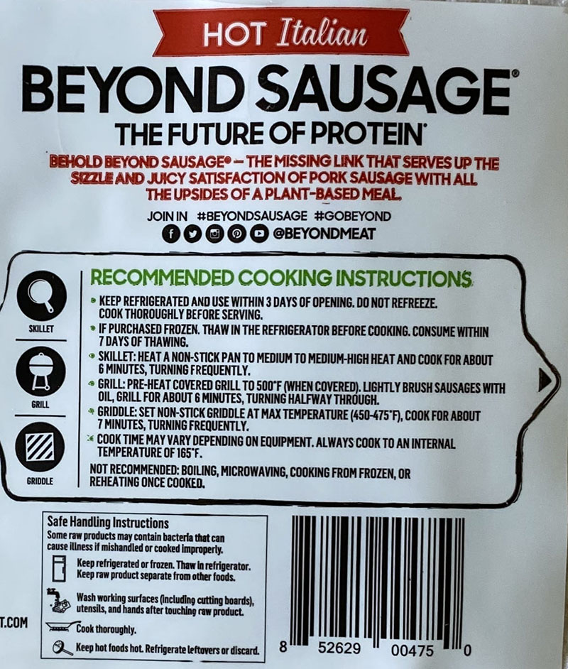 Beyond Sausage Hot Italian cooking instructions