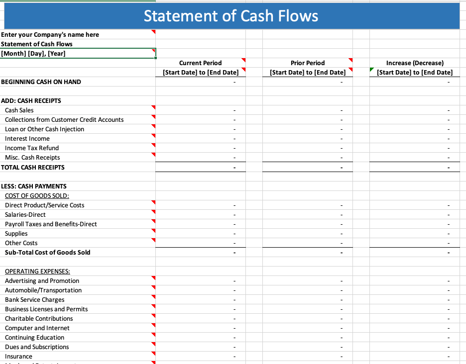 Monthly cash flow statement template; A Guide To Cash Flow Statements With Template Quickbooks Canada