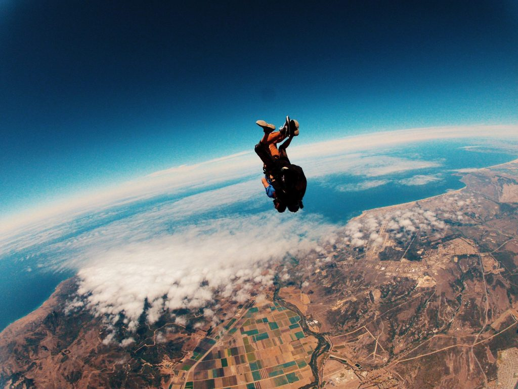 A person skydiving.